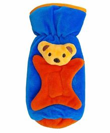 Brandonn Velvet Feeding Bottle Cover Teddy Applique Blue - Fits 250 ml Bottle
