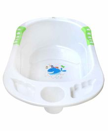 NHR Baby Bath Tub Whale Print - White Green