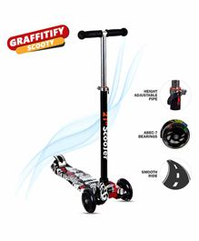 NHR 4 Wheel Foldable Scooter With LED Lights - White Black