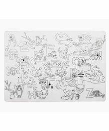 Mombella Silicone Coloring Placemat Zoo Print - White