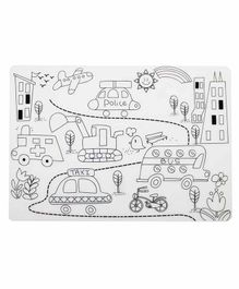 Mombella Silicone Coloring Placemat The Street Scenary Print - White