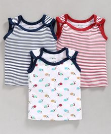 Ohms Sleeveless Vests Pack Of 3 Stripes & Fish Print - Blue, Red