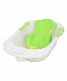 Maanit Baby Bath Tub With Detachable Bather Whale Print- White Green