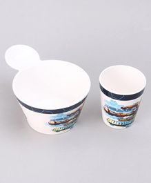 Transformers 2 Piece Fries Bowl & Glass Set - White