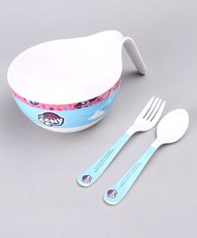 My Little Pony 3 Piece Maggie Bowl with Fork & Spoon - Blue