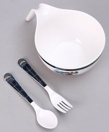 Transformers 3 Piece Maggie Bowl with Fork & Spoon - White