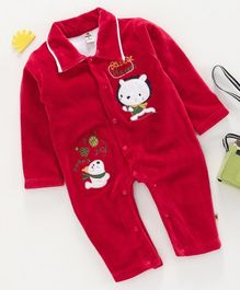 Brats And Dolls Full Sleeves Winter Wear Onesies - Red