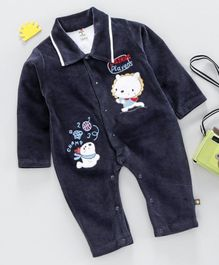 Brats And Dolls Full Sleeves Winter Wear Onesies - Navy Blue