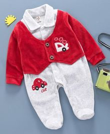 Brats and Dolls Full Sleeves Winter Wear Footed Romper Car Patch - Red