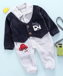 Brats and Dolls Full Sleeves Winter Wear Footed Romper Car Patch - Navy Blue