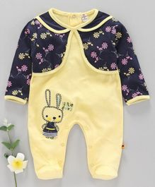 Brats and Dolls Full Sleeves Footed Romper Bunny Embroidery - Yellow Blue