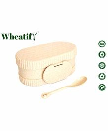 Wheatify Glimmer Wheat Straw Oval Lunch Box with Spoon - Beige