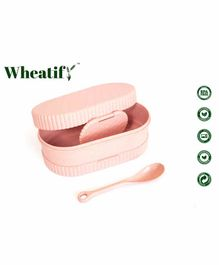 Wheatify Glimmer Wheat Straw Oval Lunch Box with Spoon - Pink