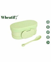 Wheatify Glimmer Oval Lunch Box with Spoon - Green