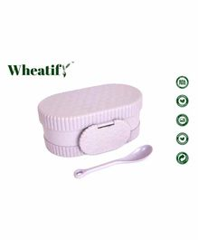 Wheatify Glimmer Oval Lunch Box with Spoon - Purple