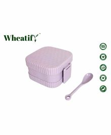 Wheatify Glimmer Wheat Straw Square Lunch Box with Spoon - Purple