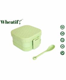 Wheatify Glimmer Square Lunch Box with Spoon - Green