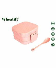 Wheatify Glimmer Square Lunch Box with Spoon - Peach
