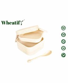 Wheatify Glimmer Square Lunch Box with Spoon - Cream