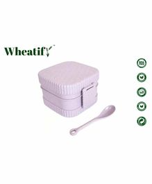 Wheatify Glimmer Square Lunch Box with Spoon - Purple