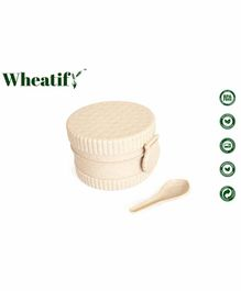 Wheatify Glimmer Oval Lunch Box with Spoon - Beige