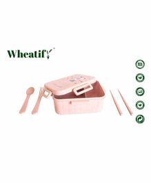 Wheatify Wheat Straw Boxy Sectioned Lunch Box with Spoon Fork & Chopsticks Small Bunny Print - Pink