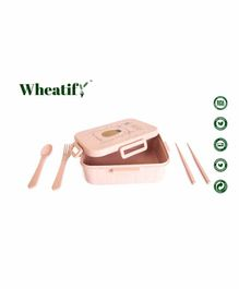 Wheatify Wheat Straw Boxy Lunch Box with Spoon Fork & Chopsticks Big Bear Print - Pink