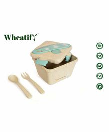 Wheatify Wheat Straw Squarenous Lunch Box with Spoon & Fork - Brown Blue
