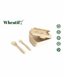 Wheatify Wheat Straw Recto Lunch Box with Spoon & Fork - Beige