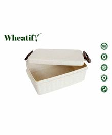 Wheatify Wheat Straw Rect Set Go Lunch Box - Beige