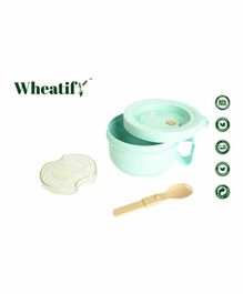 Wheatify Wheat Straw Cylindro Lunch Box with Spoon - Green
