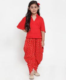 Baani Creations Three Fourth Sleeves Solid Top With Motif Print Dhoti - Red