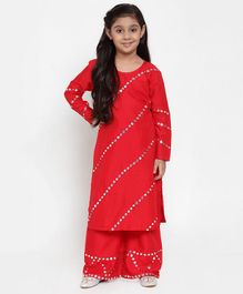Baani Creations Embellished Full Sleeves Kurti With Salwar - Red