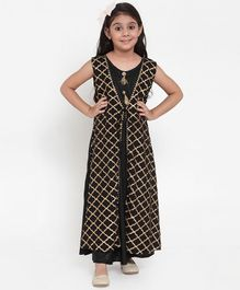 Baani Creations Sleeveless Printed Attached Jacket Dress - Black