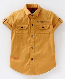 Amigos Solid Half Sleeves Shirt - Mustard