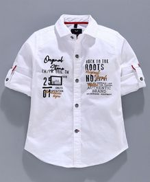 Amigos Full Sleeves Text Print Shirt - White