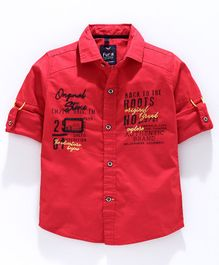Amigos Full Sleeves Text Print Shirt - Red