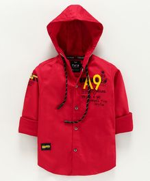 Amigos Full Sleeves Text Print Hooded Shirt - Red