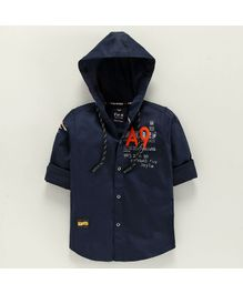 Amigos Full Sleeves Text Print Hooded Shirt - Blue