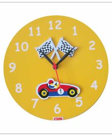 Kidoz Battery Operated Clock Racing Car Applique - Yellow