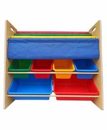 Babycenter India Storage Rack With 6 Bins & Fabric Sleeves Holder - Multicolor