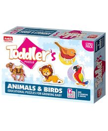 Ankit Toys Animals & Birds Jigsaw Puzzle Multicolor Set of 12 - 2 Pieces Each