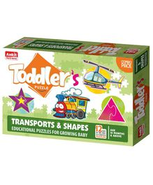 Ankit Toys Shapes and Vehicles Jigsaw Puzzle Multicolor Set of 12 - 2 Pieces Each