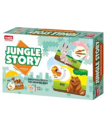 Ankit Toys Jungle Animals Jigsaw Puzzle Multicolor Set of 12 - 2 Pieces Each