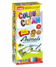 Ankit Toys Colour & Clean Solo Pack Animals - Multicolor