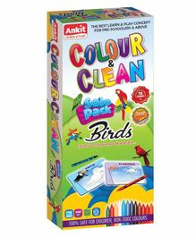 Ankit Toys Birds Theme Colour & Clean Kit - 12 Cards