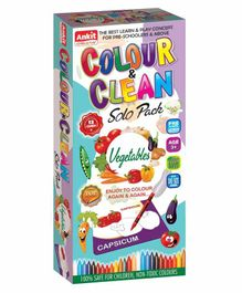 Ankit Toys Vegetables Theme Colour & Clean Kit - 12 Cards