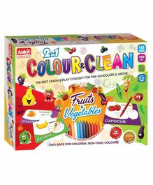Ankit Toys 2 in 1 Fruits & Vegetables Theme Colour & Clean Kit - 24 Cards