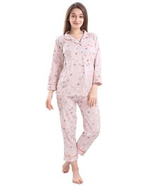 Piu Full Sleeves Rabbit Print Feeding Night Suit With Side Buttons - Pink