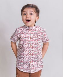 Tiber Taber Half Sleeves Monkey Print Shirt - White